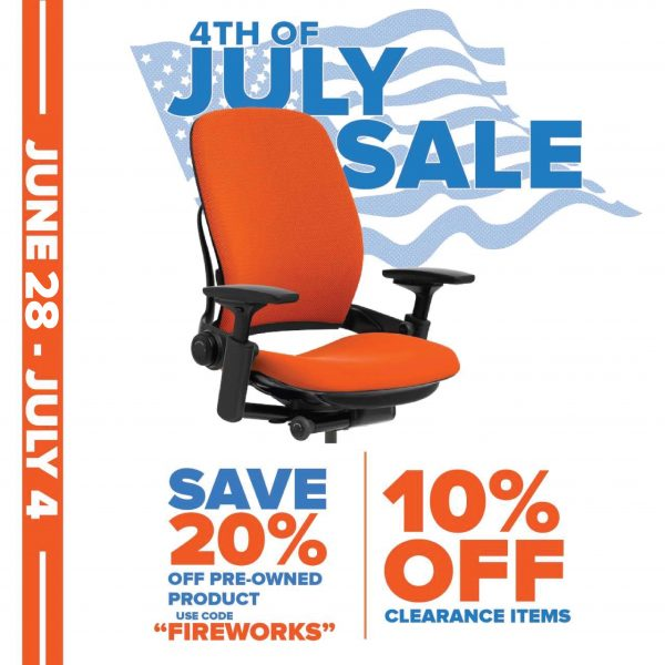 20% off on all pre-owned office furniture with code FIREWORKS