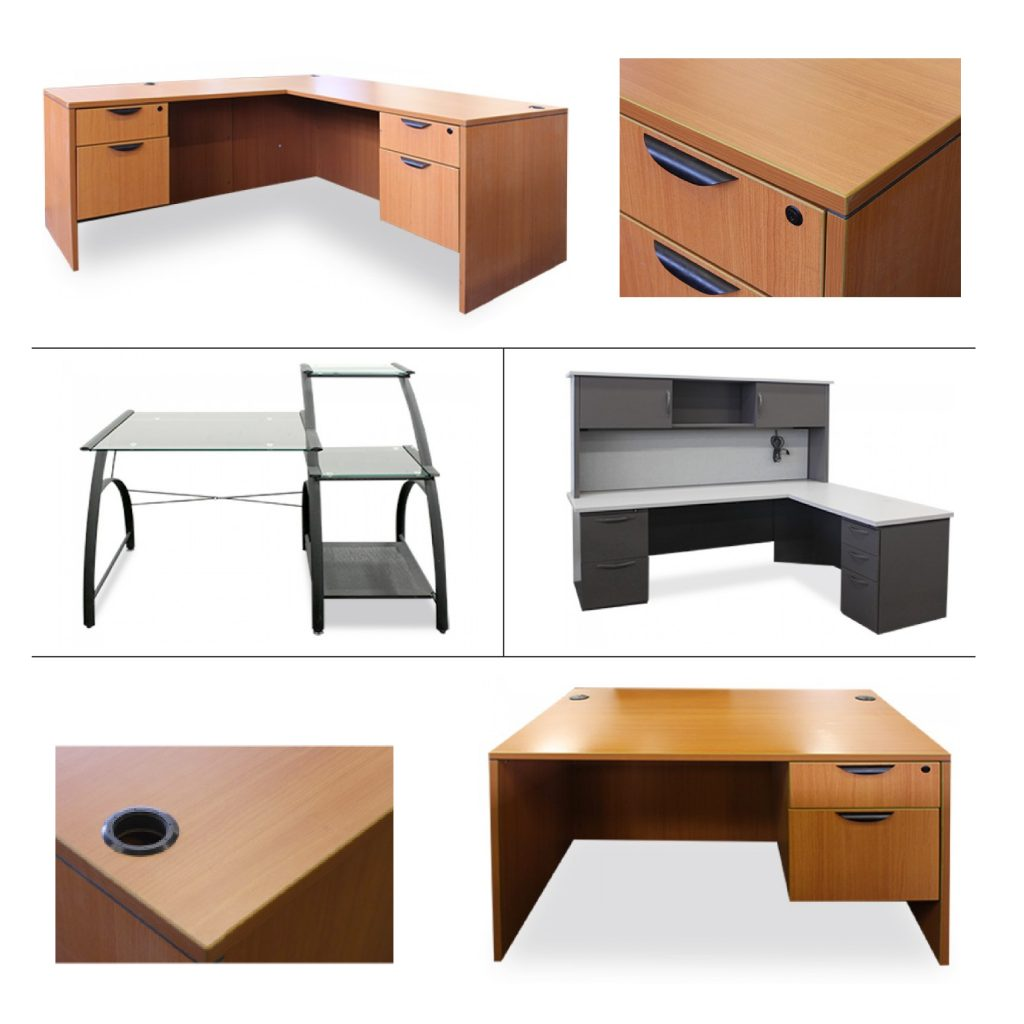 A variety of newly arrived desks at Office Furniture Center.