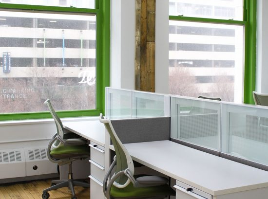Low partitions between workstations can create a more private work space.