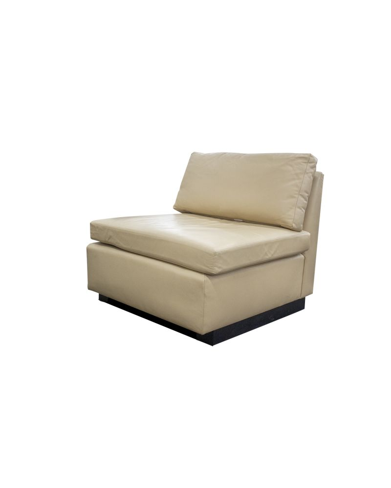 Pre-owned David Edward lounge chair has custard polyurethane upholstery. With (1) seat cushion, (1) back cushion and a black wood base.