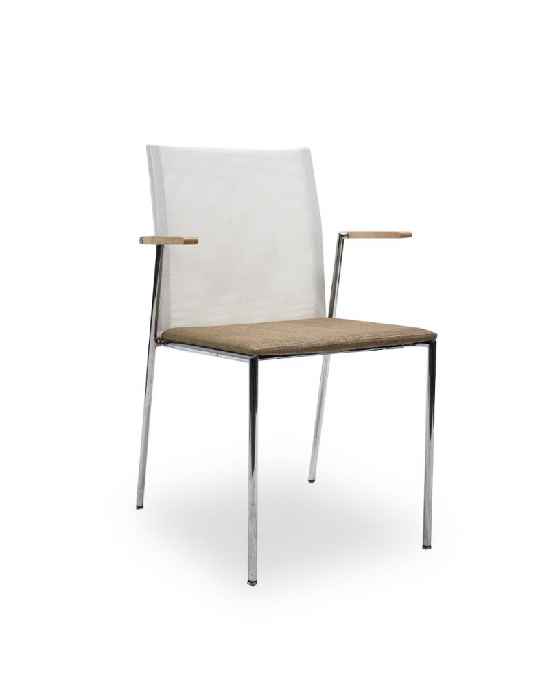 Pre-owned stack chair has white mesh back, tan stitch patterned seat, maple veneer arms and (4) chrome post legs.