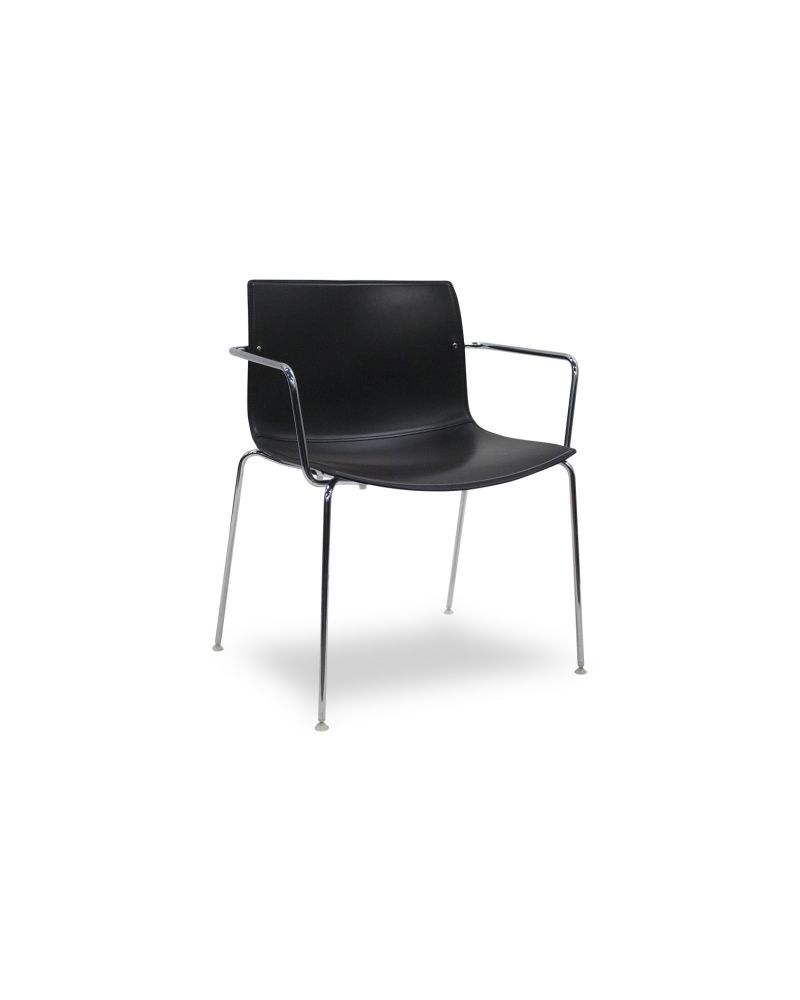 Pre-owned Arper Catifa 46 side chair has Black Hard Leather body with (4) chrome post legs.