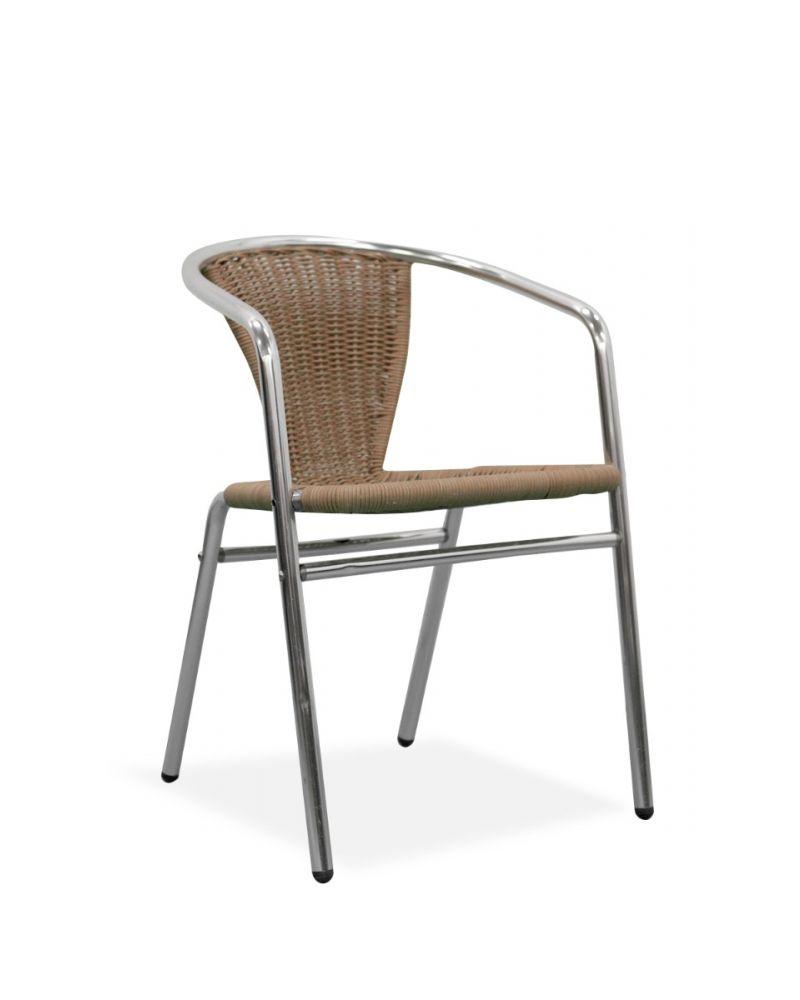 Wicker Side Chair w/ Chrome Frame