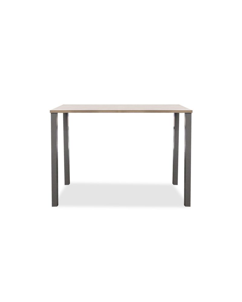 """24""""D x 60""""W x 42""""H rectangular collaboration table with laminate top and (4) metal post legs."""