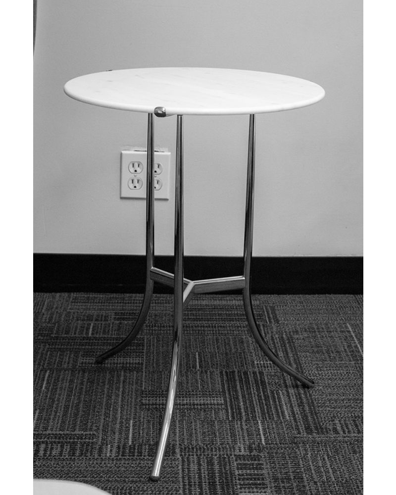 """Pre-owned Cedric Hartman round side table has white marble surface and a nickel plated base with (3) curved legs. Dimensions: 17"""" in diameter."""