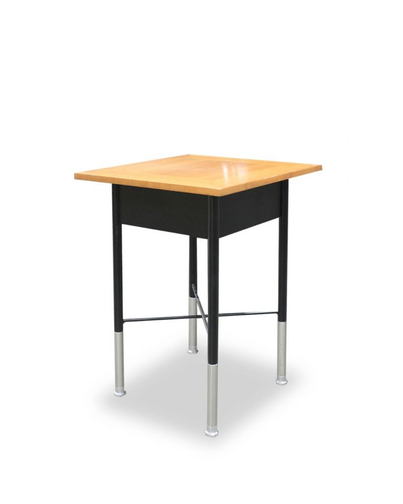 """Pre-owned Geiger Crossbar telephone table  with walnut veneer top and black steel frame, satin chrome ankle and chrome foot. Dimensions: 14""""D x 14""""W x 20""""H."""