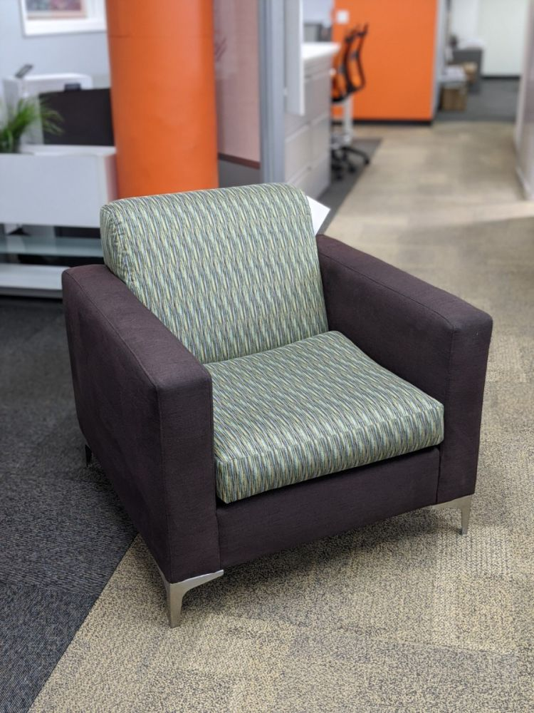Lounge Chair (Green Stripes/Grey)