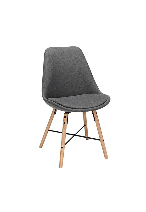 OFM Mid Century Modern Fabric Dining Chair with Wire Accents (Dark Grey) (Set Of 2)