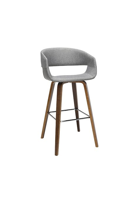 OFM 161 Collection Mid Century Modern Bentwood Low Back Fabric Stool (Light Grey) (Set of 2)