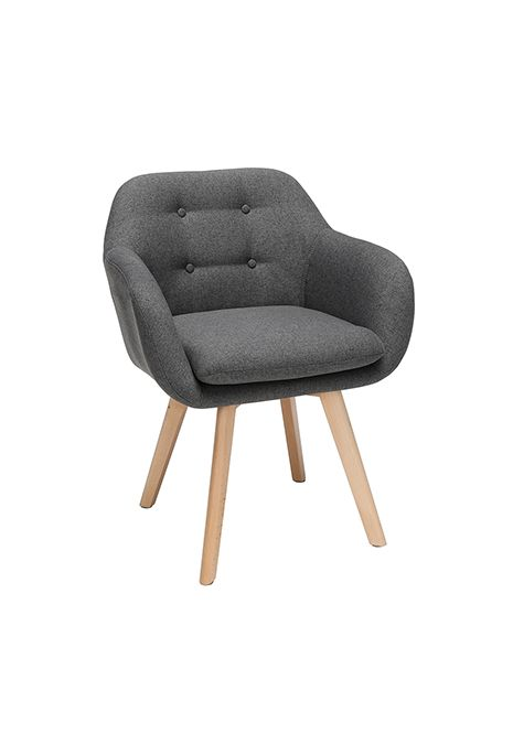 OFM 161 Collection Mid Century Modern Tufted Fabric Arm Chair (Dark Grey) (Set of 2)