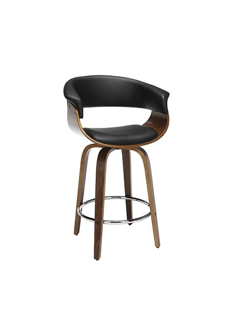 OFM 161 Collection Mid Century Modern Bentwood Low Back Swivel Stool (Black)