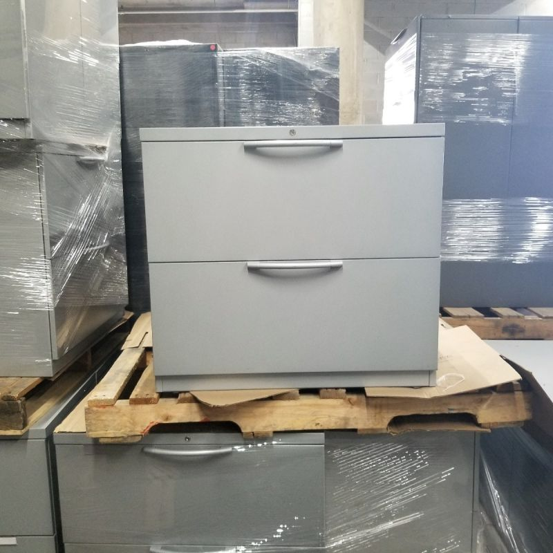 """Pre-owned 2H 30""""W lateral file has grey metal finish."""