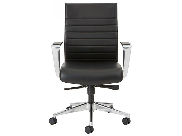 New Beniia Etano CL conference chair has  Jet Black upholstery with polished aluminum base and polished aluminum armrests.Features:- Synchro tilt mechanism with 3-position lock- Adjustable tilt tension- 4?Axis adjustable armrests with