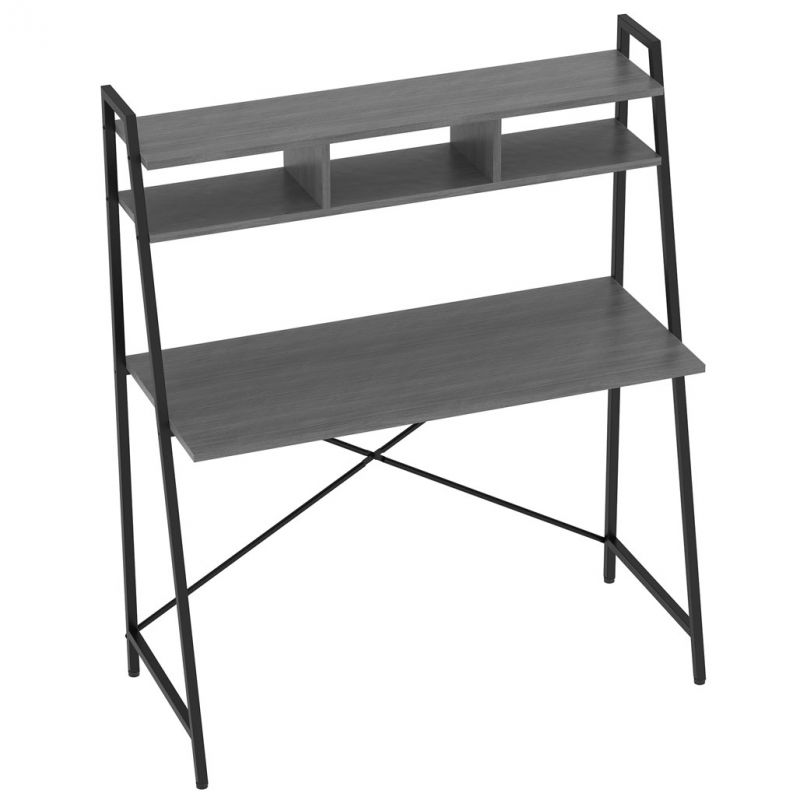 OfficeSource Any Space WFH Collection Folding Desk with Two Shelves and Black Frame (42″H x 24″D)
