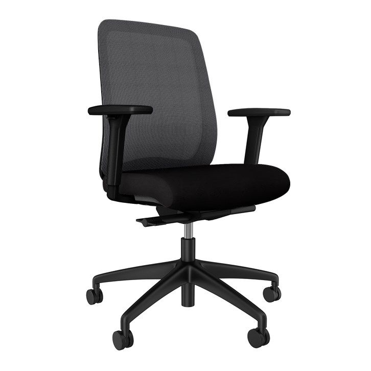 AIS Bolton Mid Back Black Task Chair