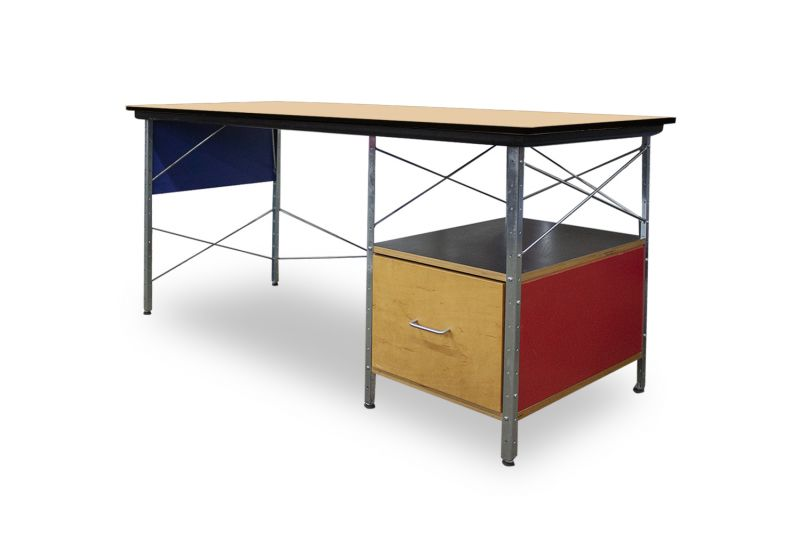 Pre-owned Herman Miller Eames Desk has maple laminate surface with black edge banding. With (1) cubbie and (1) file cabinet. Multicolored panels.