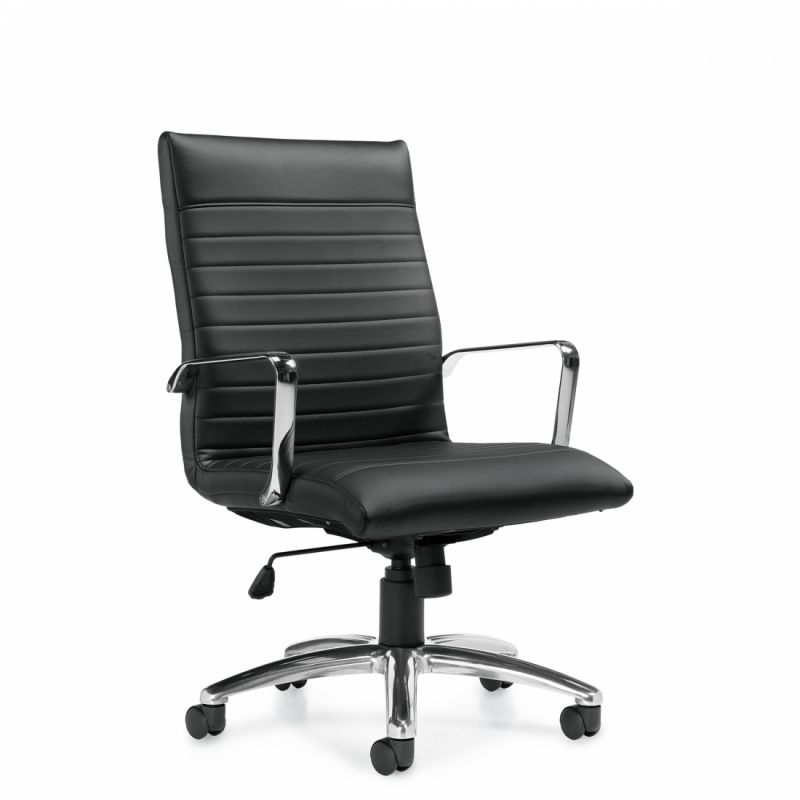 Offices to Go Black High Back Luxhide Tilter Conference Chair with Single Position Tilt Lock