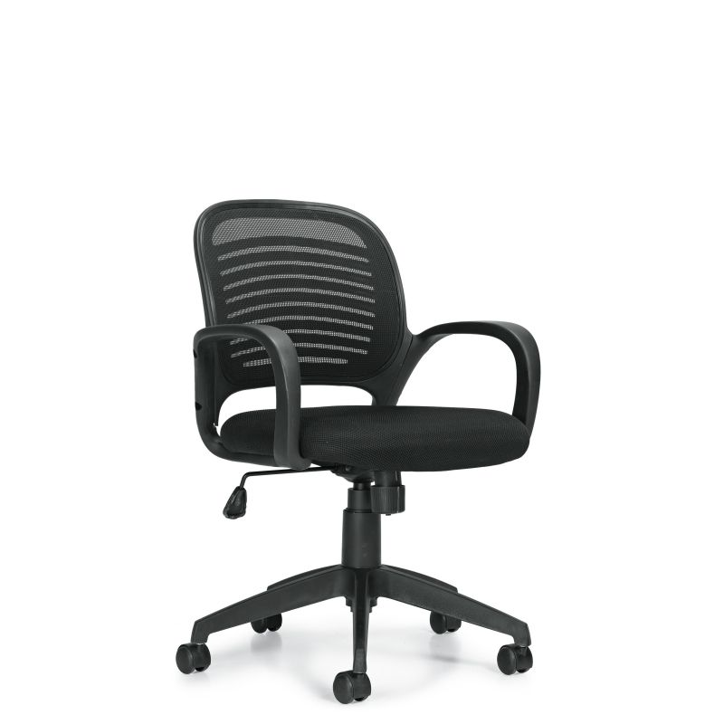 Offices to Go Black Round Mesh Back Tilter Conference Chair with Chrome Accents