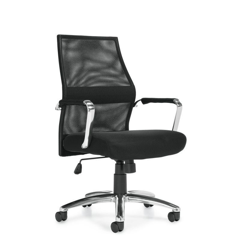 Offices to Go Black Mesh Back Tilter Conference Chair with Padded & Polished Aluminum Arms