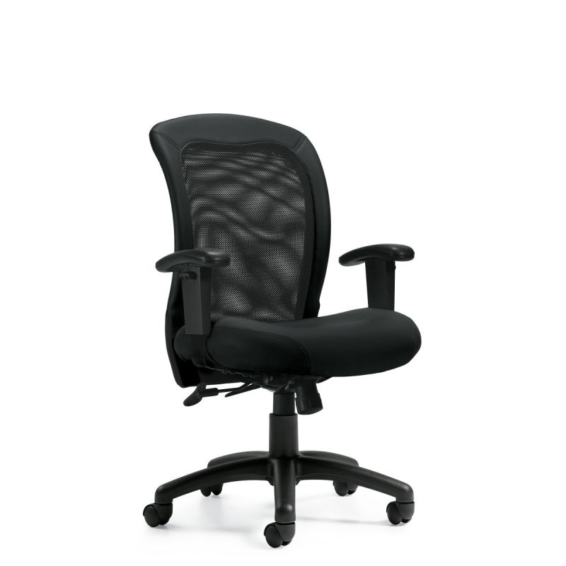 Offices to Go Black Mesh Back Tilter Task Chair with Seat Depth Adjustment