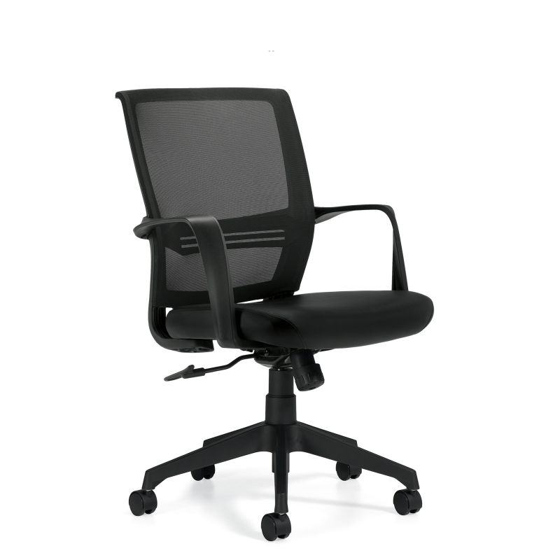 Offices to Go Black Low Back Mesh Back Tilter Conference Chair with Luxhide Seat