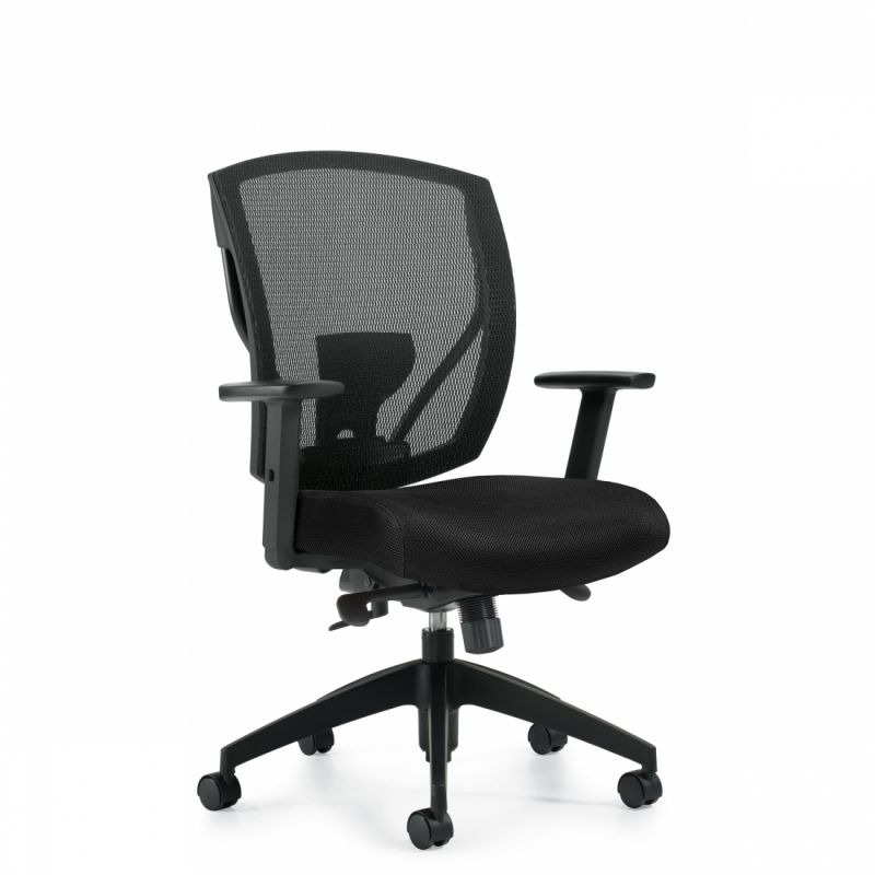 Offices To Go Black Mesh Synchro-Tilter Task Chair