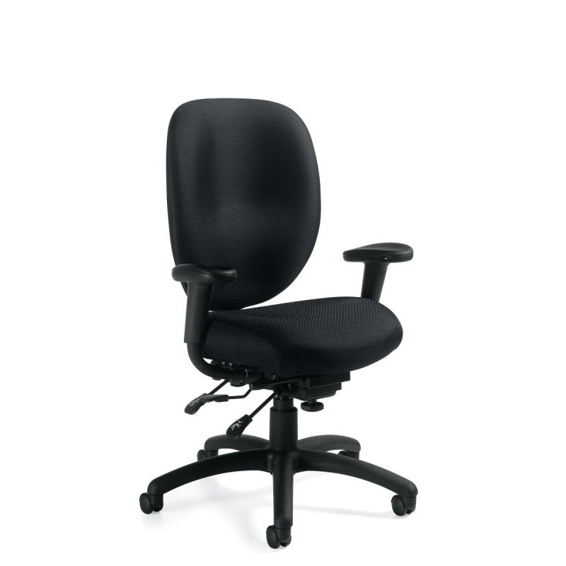 Offices to Go Black Multi-Function Task Chair with Infinite Seat Lock