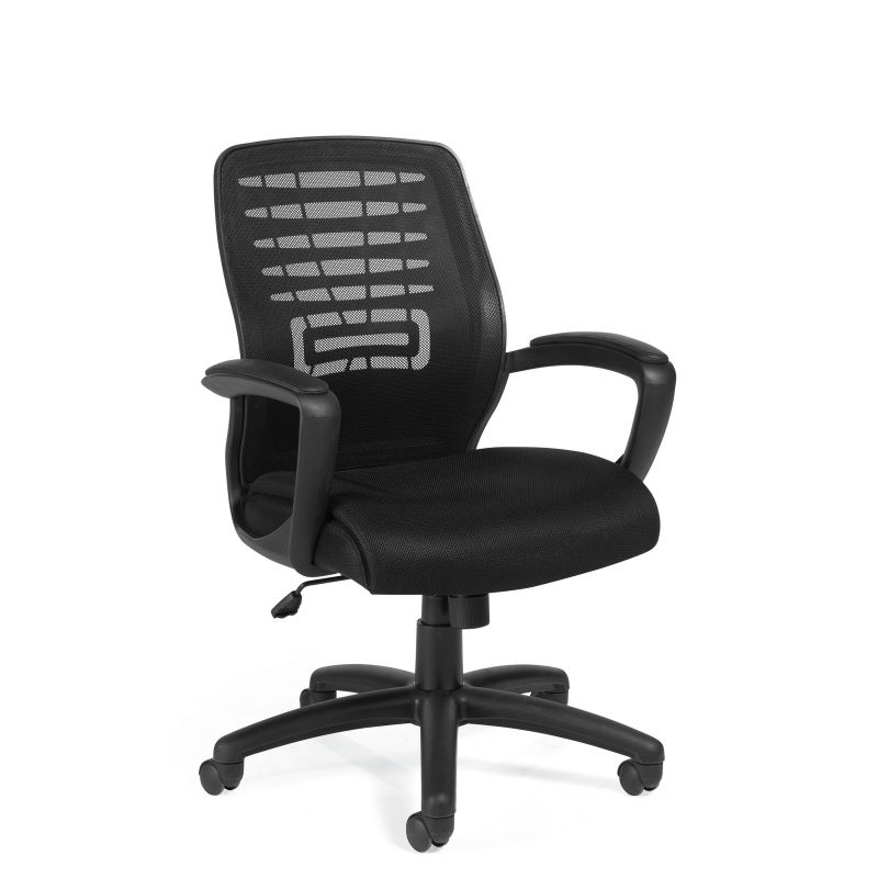 Offices to Go Black Mesh Back Tilter Conference Chair with Fixed Height Upholstered Arms