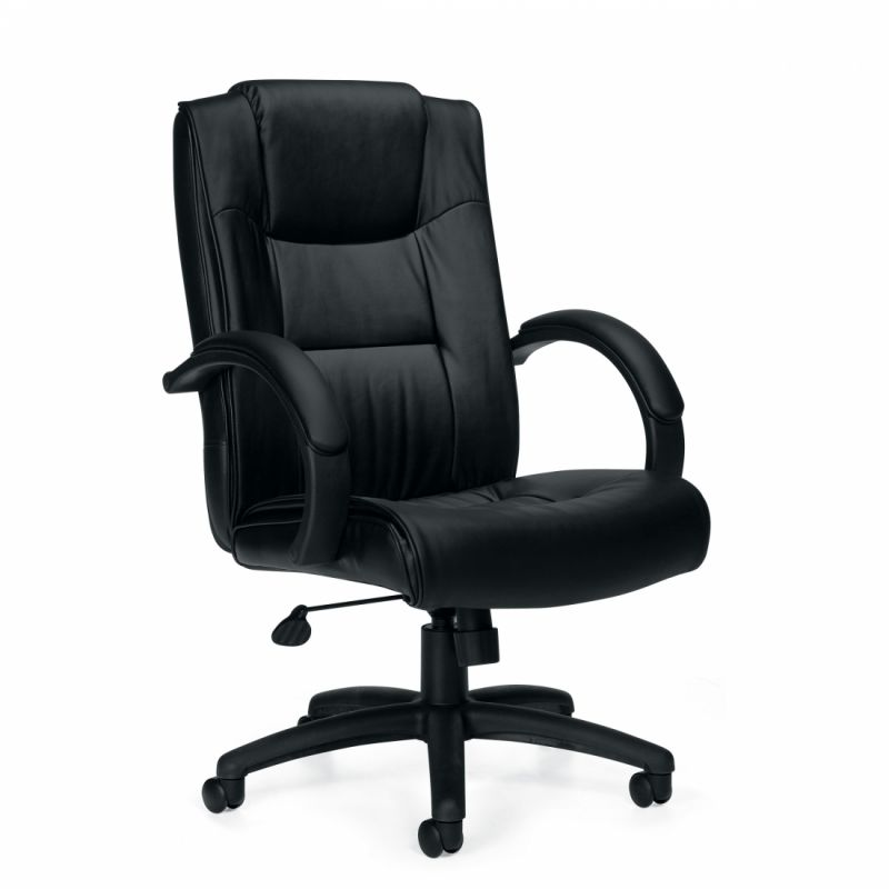 Offices to Go Black High Back Luxhide Tilter Conference Chair with Padded Armrests