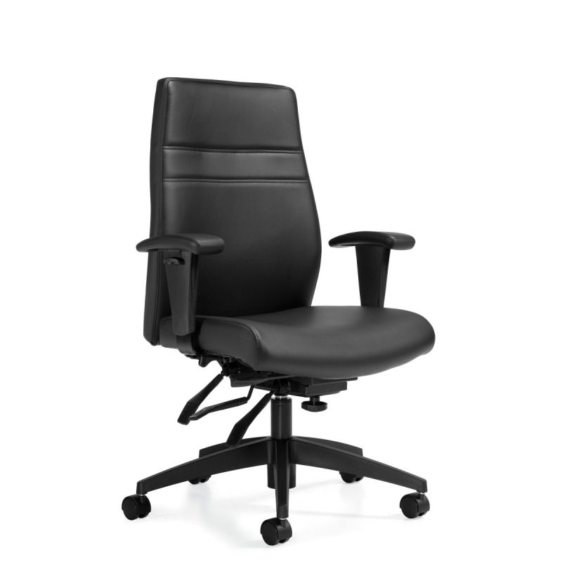Offices to Go Black Luxhide Multi-Tilter Task Chair with Infinite Seat Lock