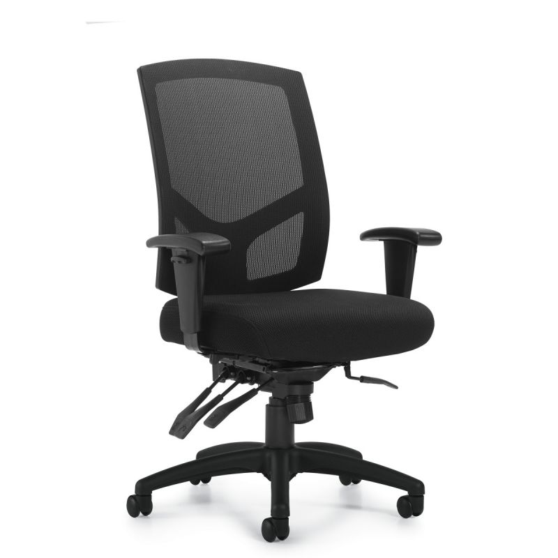 Offices to Go Black Mesh Back Multi-Function Task Chair with Back Height Adjustment
