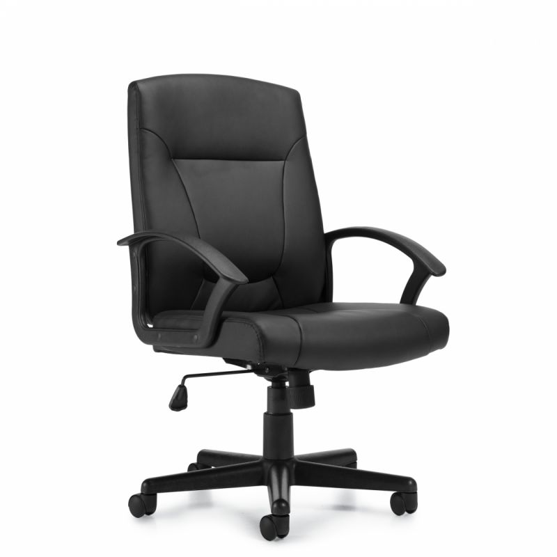 Offices to Go Black Mid Back Luxhide Tilter Conference Chair with Molded Arms