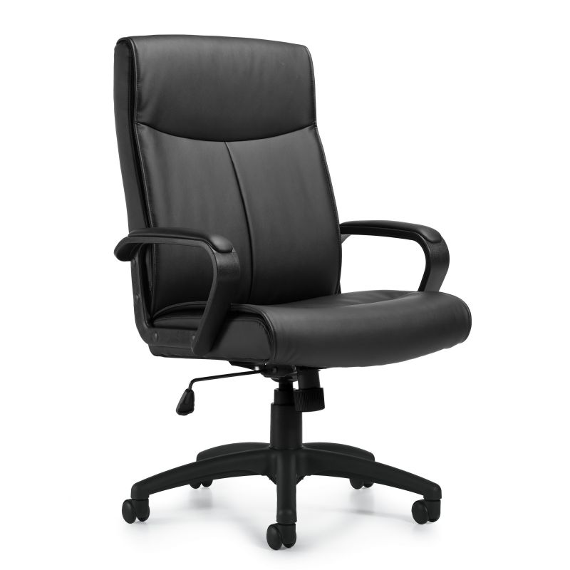 Offices to Go Black Luxhide Tilter Conference Chair with Upholstered Inset Arm Cap