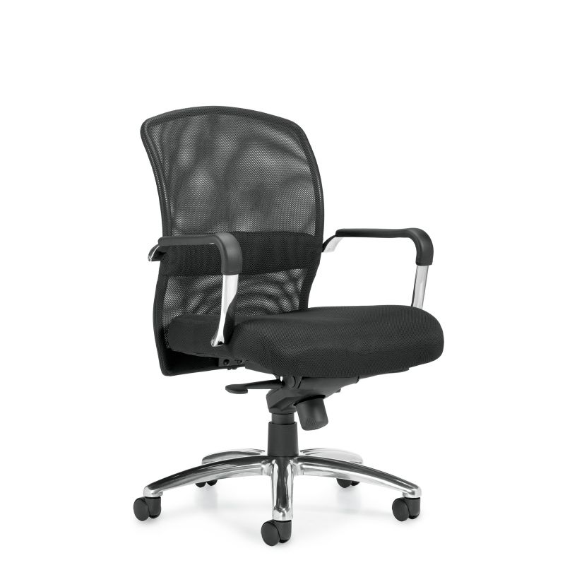 Offices to Go Black Mesh Back Knee-Tilter Conference Chair