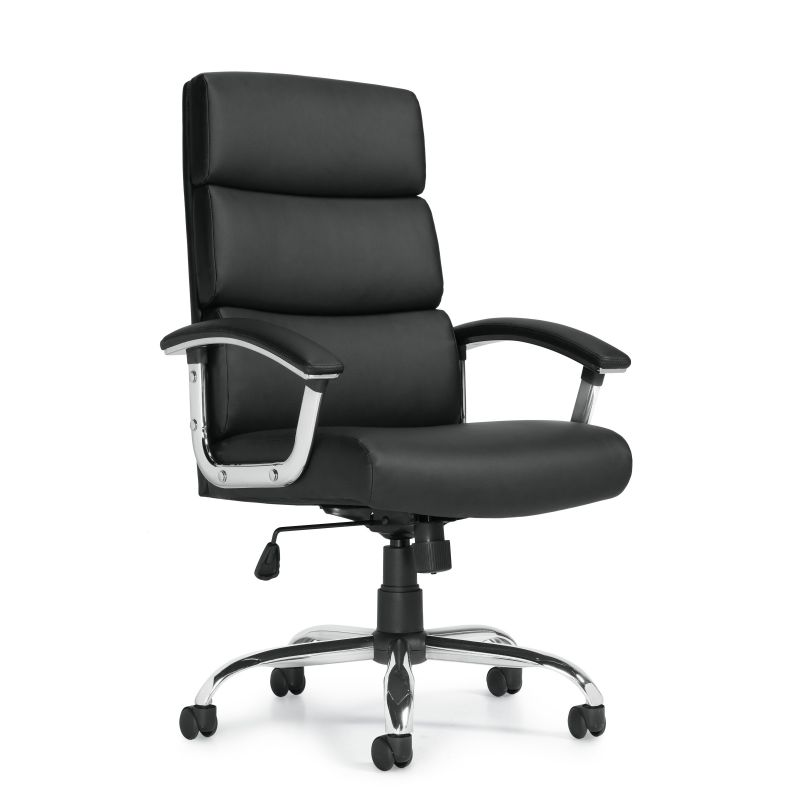 Offices to Go Black High Back Luxhide Segmented Cushion Tilter Conference Chair