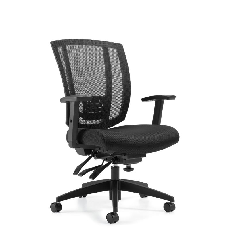 Black Mesh Back Multi-Function Task Chair with Fabric Seat