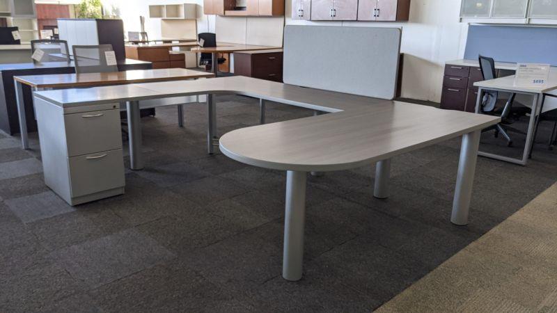 Steelcase U-Shaped Bullet-Top Desk w/ Screen (Walnut Laminate) LH