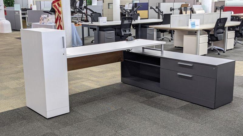 Allsteel L-Shaped Desk w/ Wardrobe (White/Slate) RH