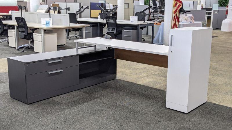 Allsteel L-Shaped Desk w/ Wardrobe (White/Slate) LH