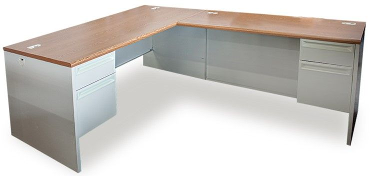 Pre-owned HON L-shaped desk has dark cherry veneer top and putty metal base.