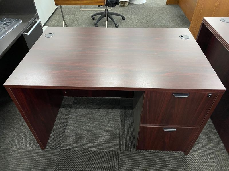 Offices To Go Single Pedestal Desk (American Mahogany) 30 x 48