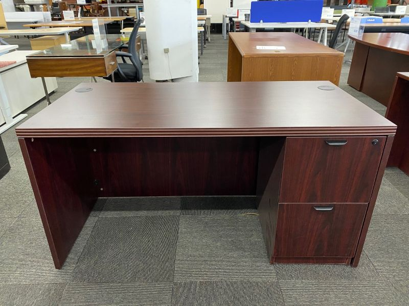 Offices To Go Single Pedestal Desk (American Mahogany) 30 x 60