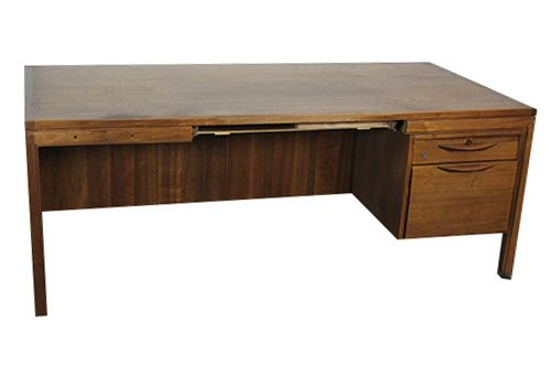 Jens Risom Walnut Veneer Single Ped Desk