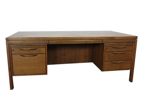 Jens Risom Walnut Veneer Double Ped Desk