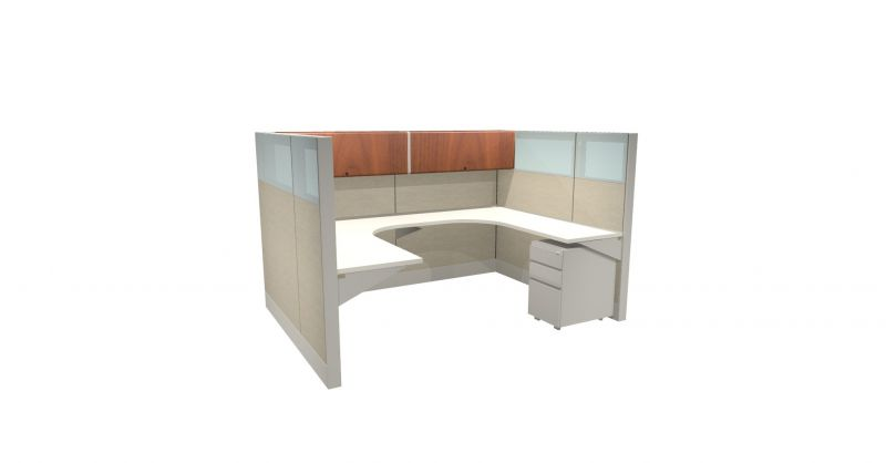"Refreshed Herman Miller Ethospace workstation (6'D x 8'W x 62""H)"
