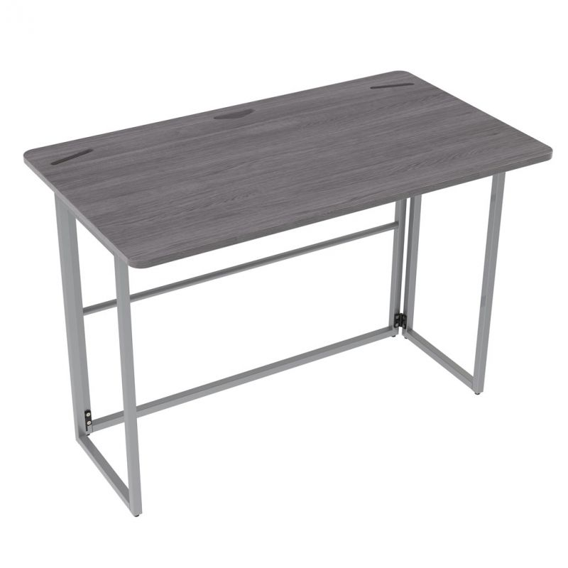 OfficeSource Any Space WFH Collection Mobile Folding Desk with Silver Frame