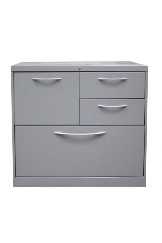 "Pre-owned HON mixed storage unit has taupe metal finish and arc pulls. Features (1) box drawer, (2) file drawers and (1) 30""W lateral. Dimensions: 18""D x 30""W x 28""H."