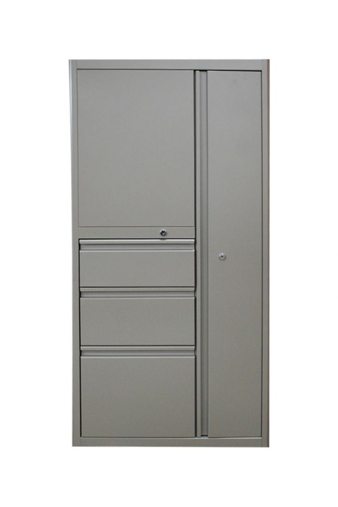 """Pre-owned wardrobe tower has tan metal finish. Features (1) right-handed wardrobe, (1) BBF and (1) 2H shelving unit on the side. Dimensions: 24""""D x 24""""W x 50""""H."""