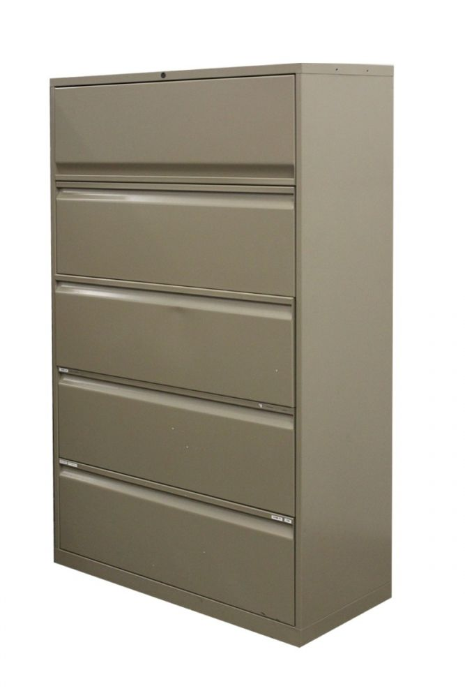 "Pre-owned Knoll Calibre 5H 36""W lateral file has olive green metal finish, full pulls and top flipper drawer."
