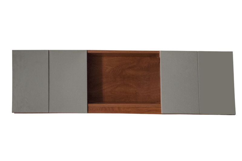 7' Cherry Laminate Wall-Mounted Credenza
